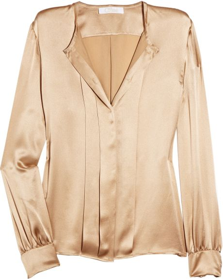 Stand Collar Blouse Designs Images : Gold silk blouse breeze clothing