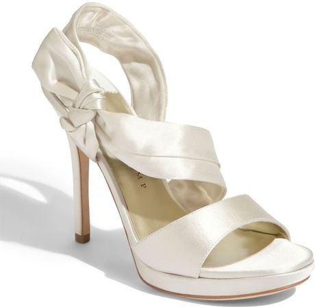 Ivanka Trump Dermani Sandal in White (ivory satin)