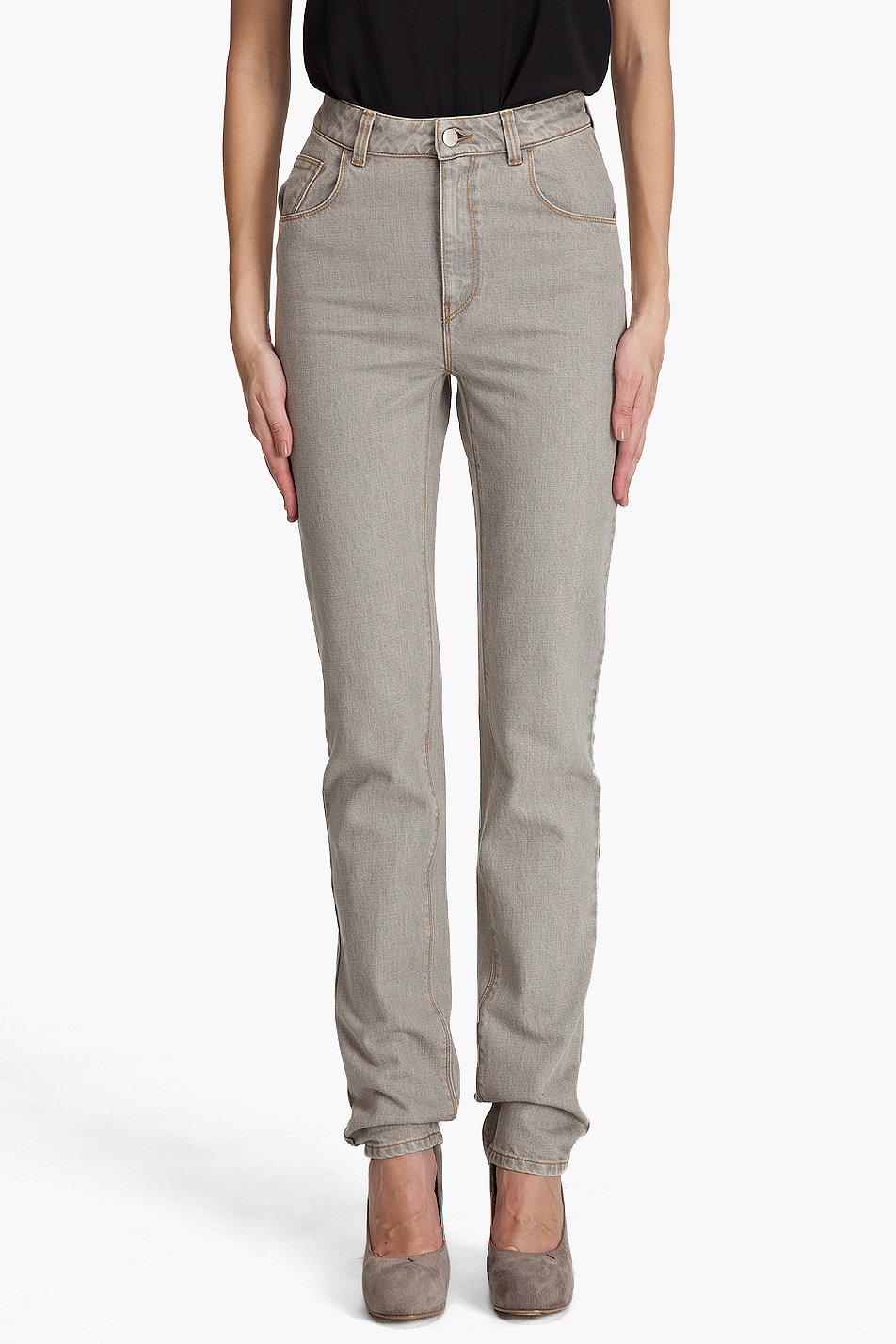 Hussein chalayan High Waist Jeans in Gray | Lyst