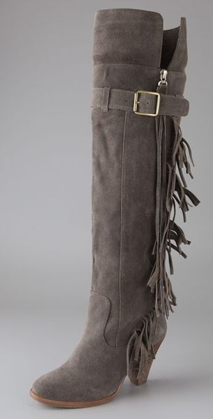 Jeffrey Campbell Dallas Over The Knee Suede Boots In Gray