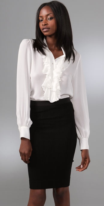 White Blouses With Collar