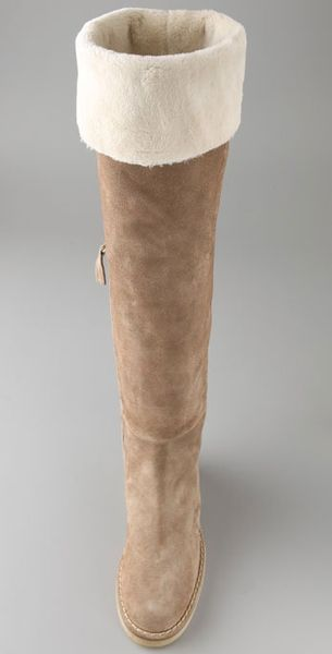 Tapeet Flat Suede Over The Knee Boots With Faux Fur Lining