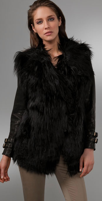 Gar-de Joffre Curly Fur Coat with Leather Sleeves in Black | Lyst