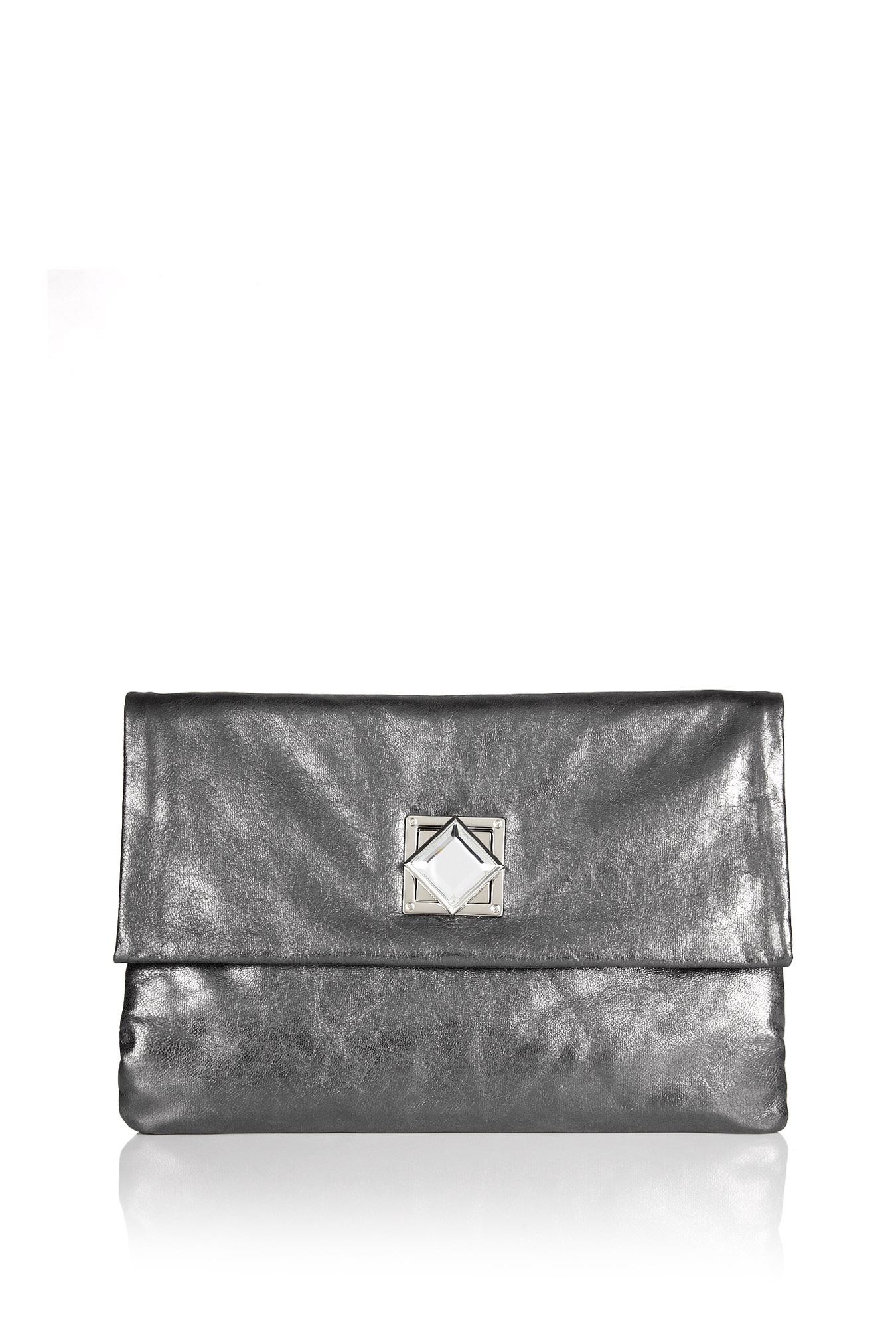 michael by michael kors gunmetal jewel clutch in silver. Black Bedroom Furniture Sets. Home Design Ideas