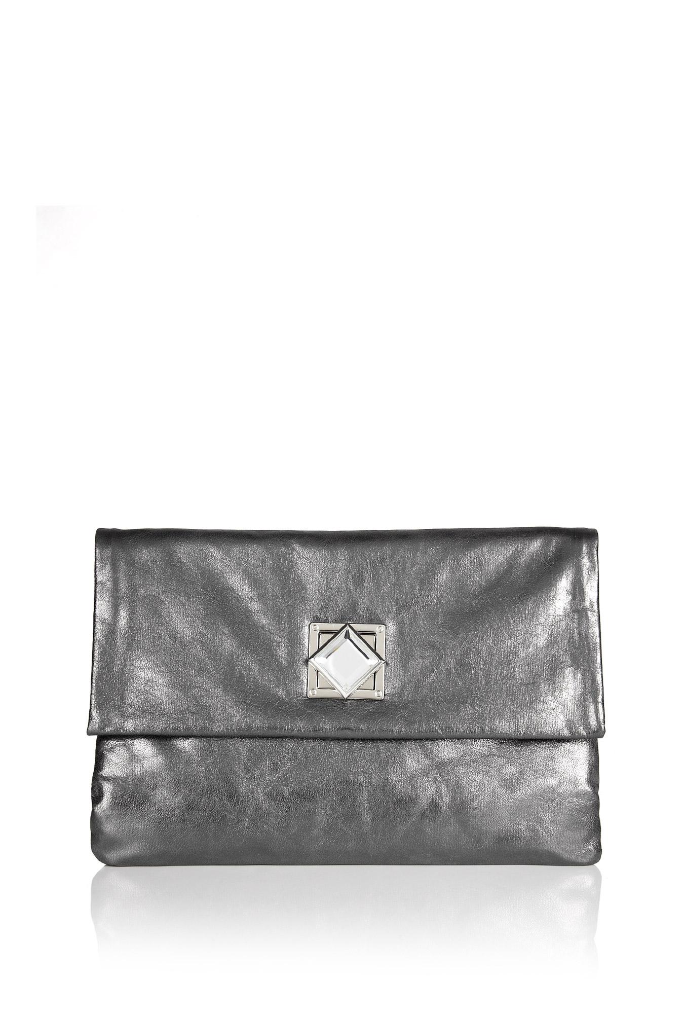 michael by michael kors gunmetal jewel clutch in silver. Black Bedroom Furniture Sets. Home Design Ideas