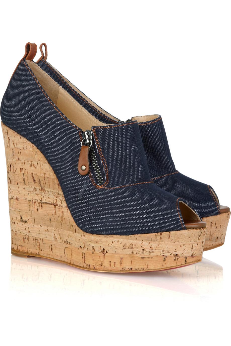 replica christian louboutins shoes - christian louboutin canvas peep-toe slingback espadrille wedges ...