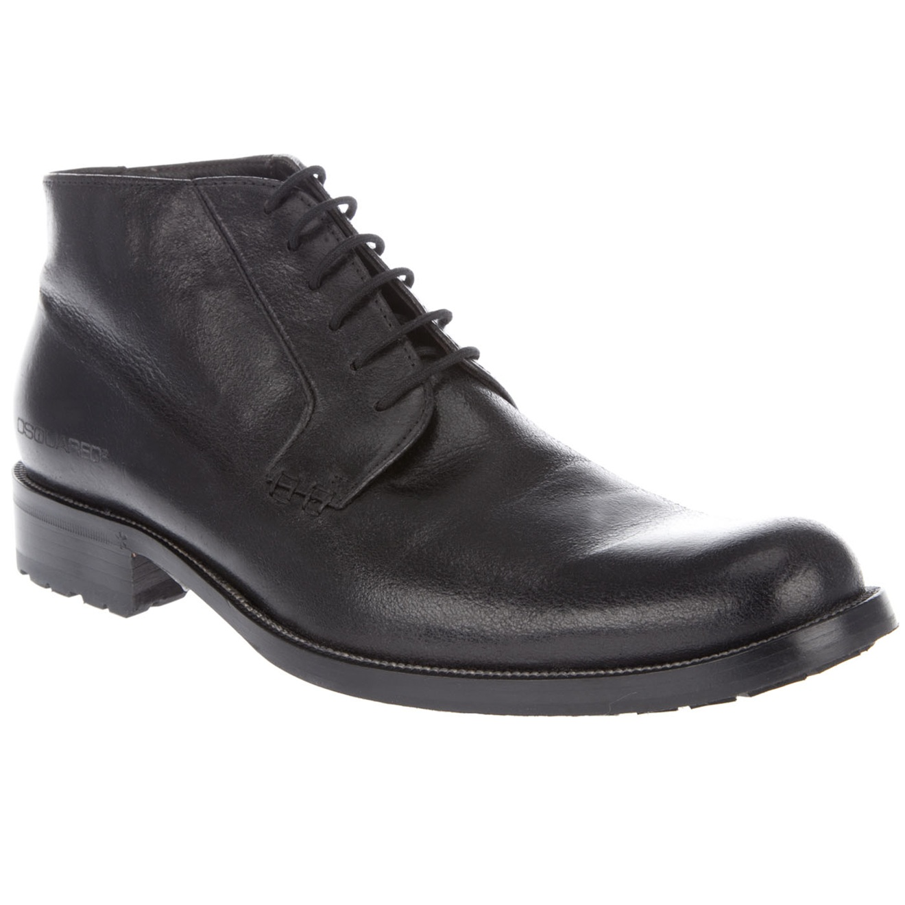 dsquared2 low cut leather ankle boot in black for lyst