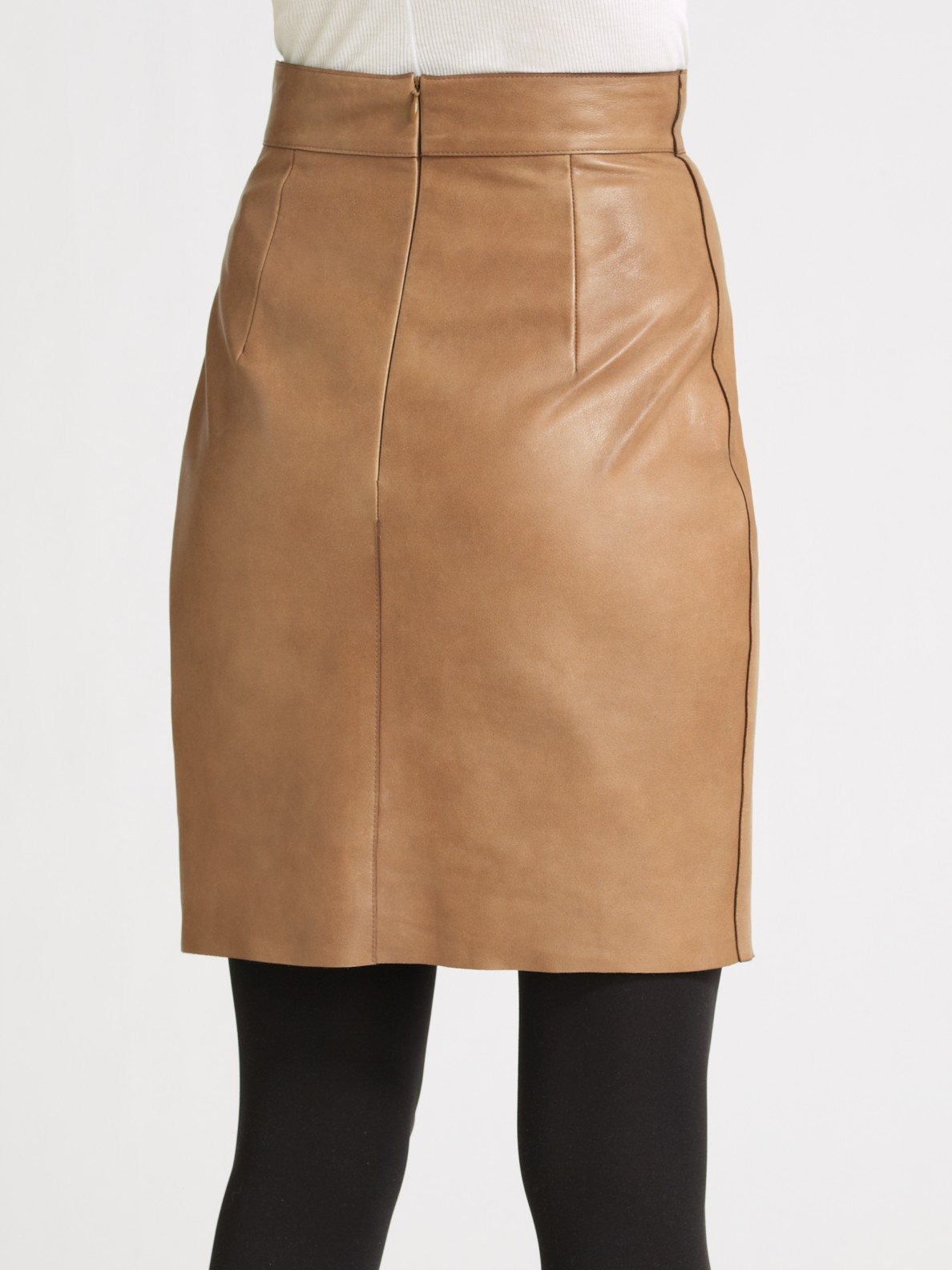 Akris punto Leather Pencil Skirt in Brown | Lyst