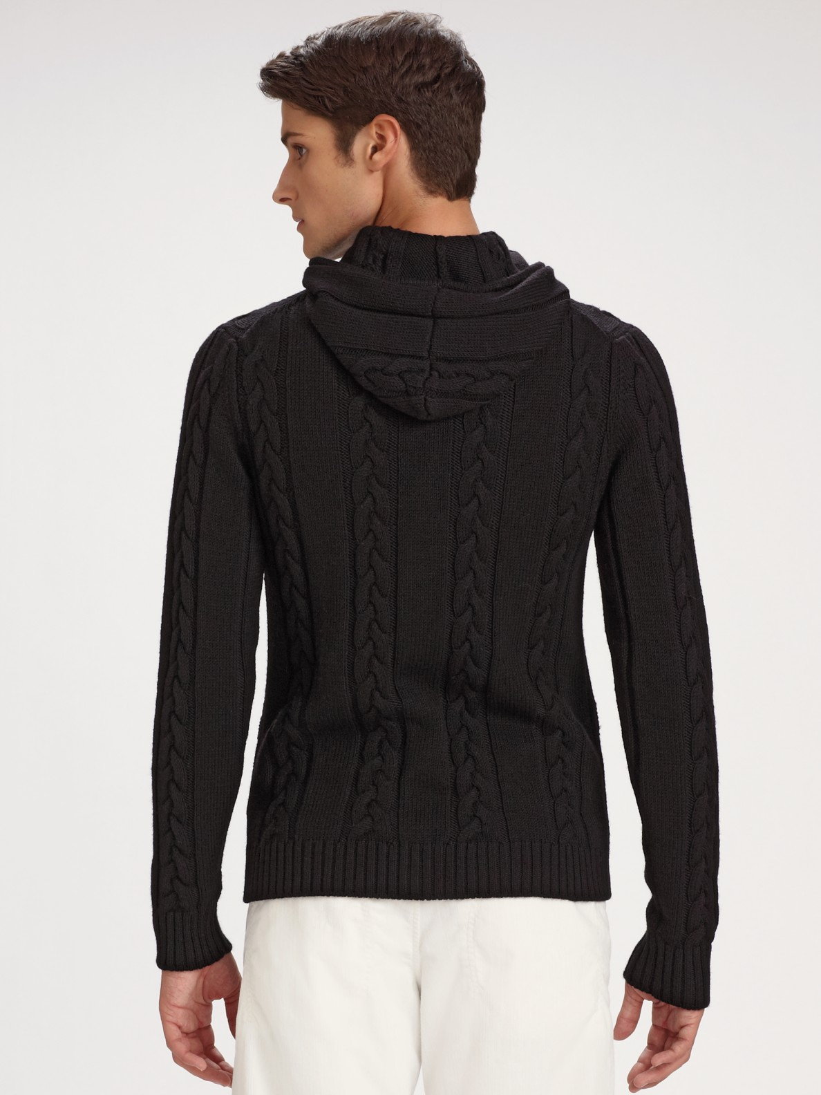 Armani Cable Hoodie Sweater in Black for Men | Lyst