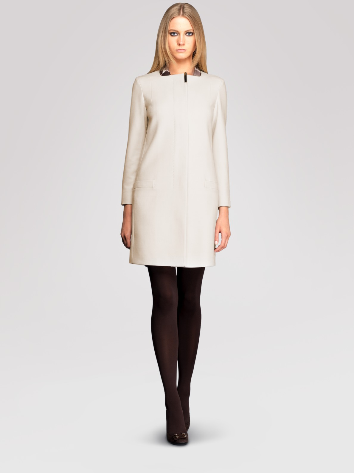 Gucci Collarless Stretch Wool Coat in White | Lyst
