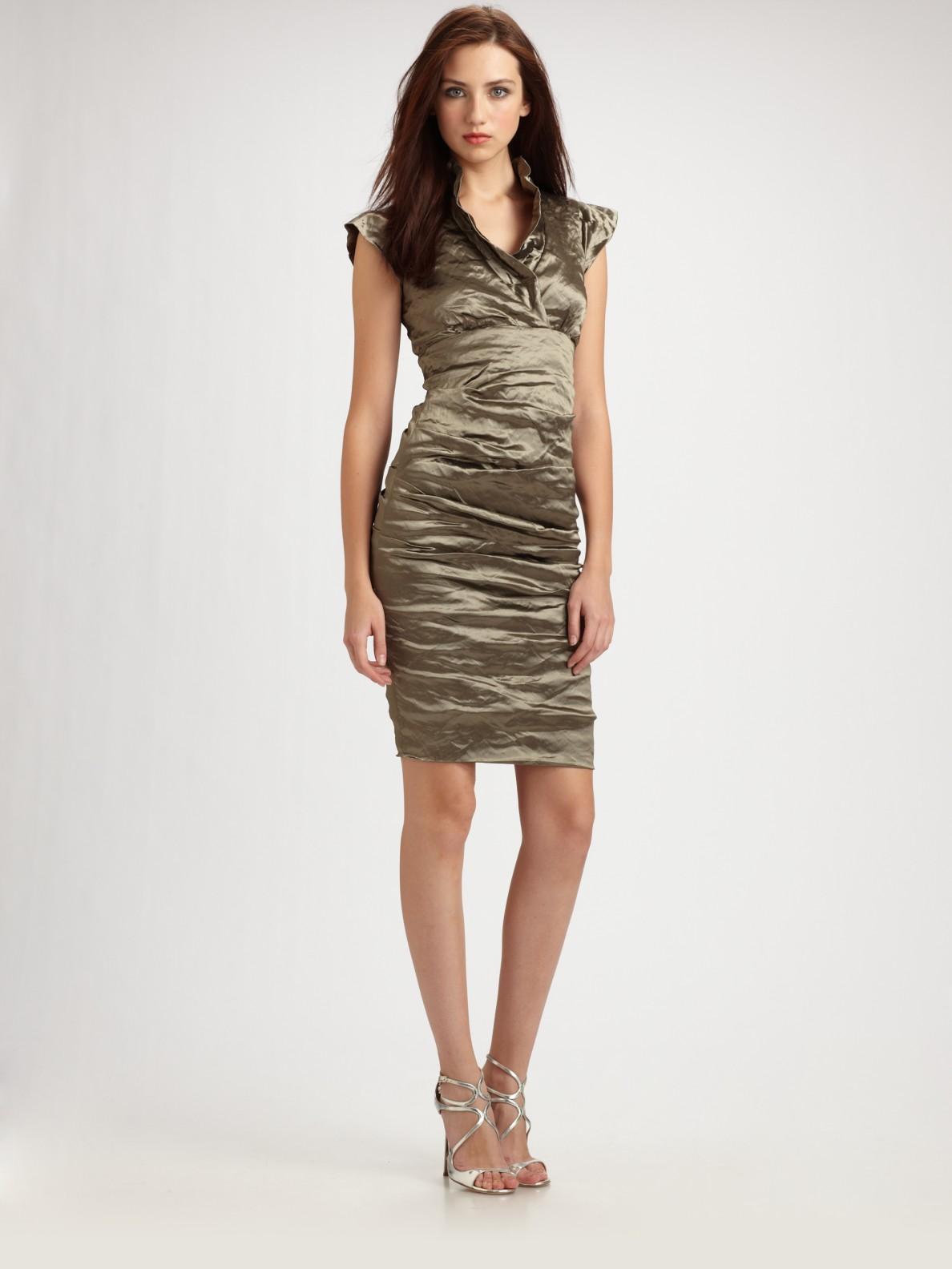 Nicole miller Cap Sleeve Cocktail Dress in Metallic  Lyst