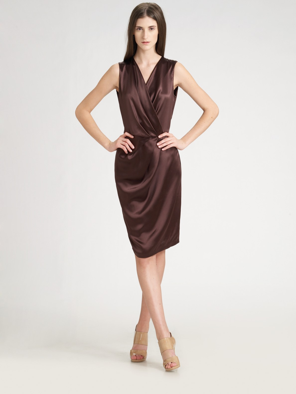 Lyst Ports 1961 Pleated Satin Dress In Brown