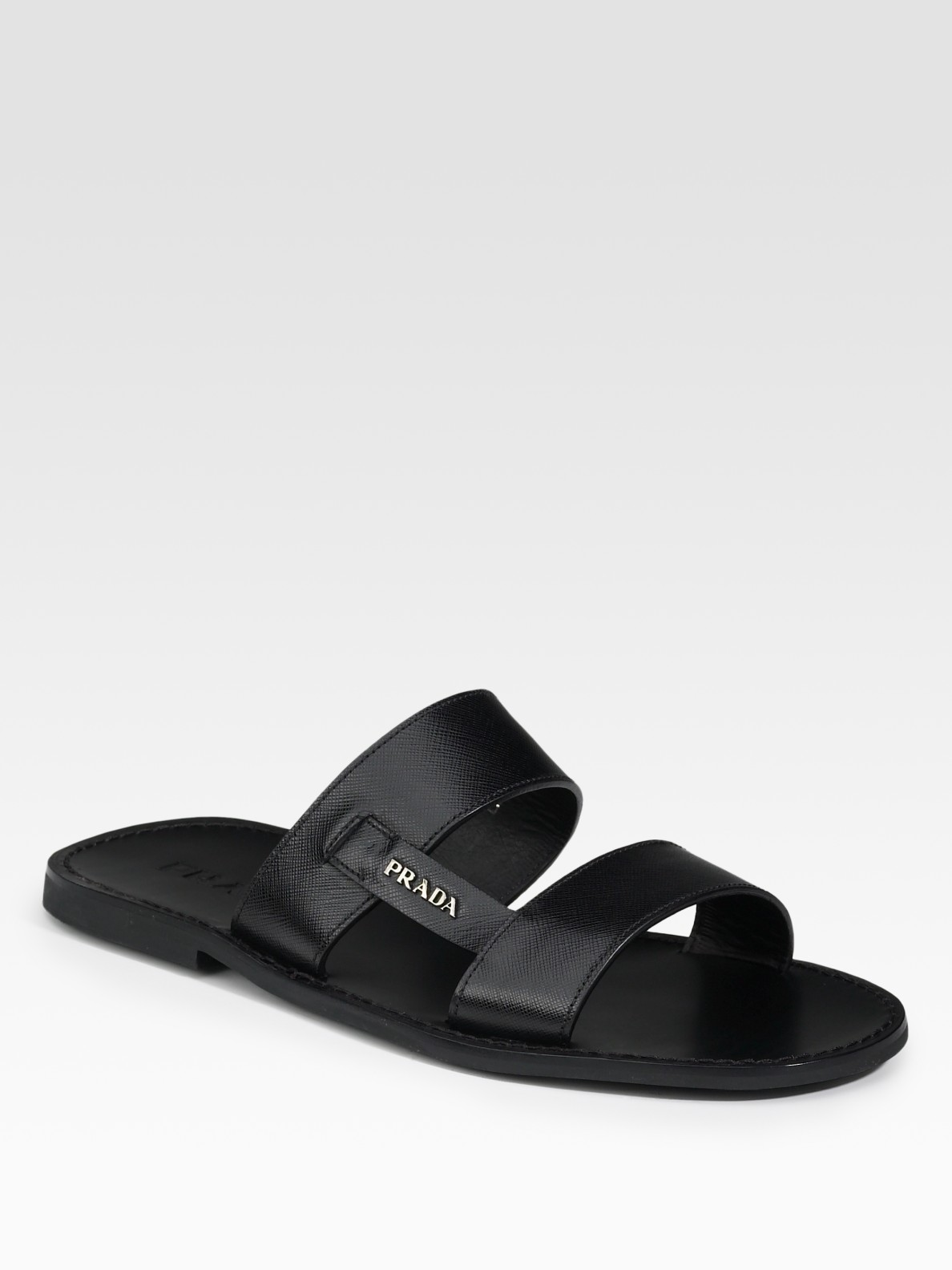 Prada Two Band Sandals In Black For Men Lyst