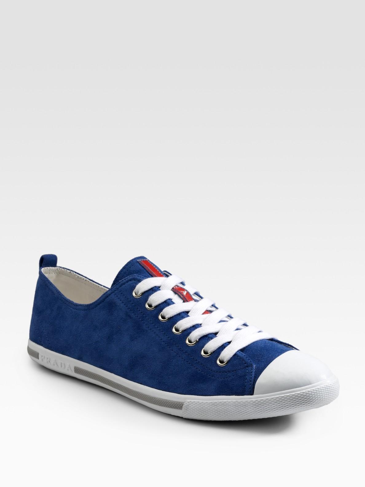 Prada Suede Sneakers in Blue for Men | Lyst