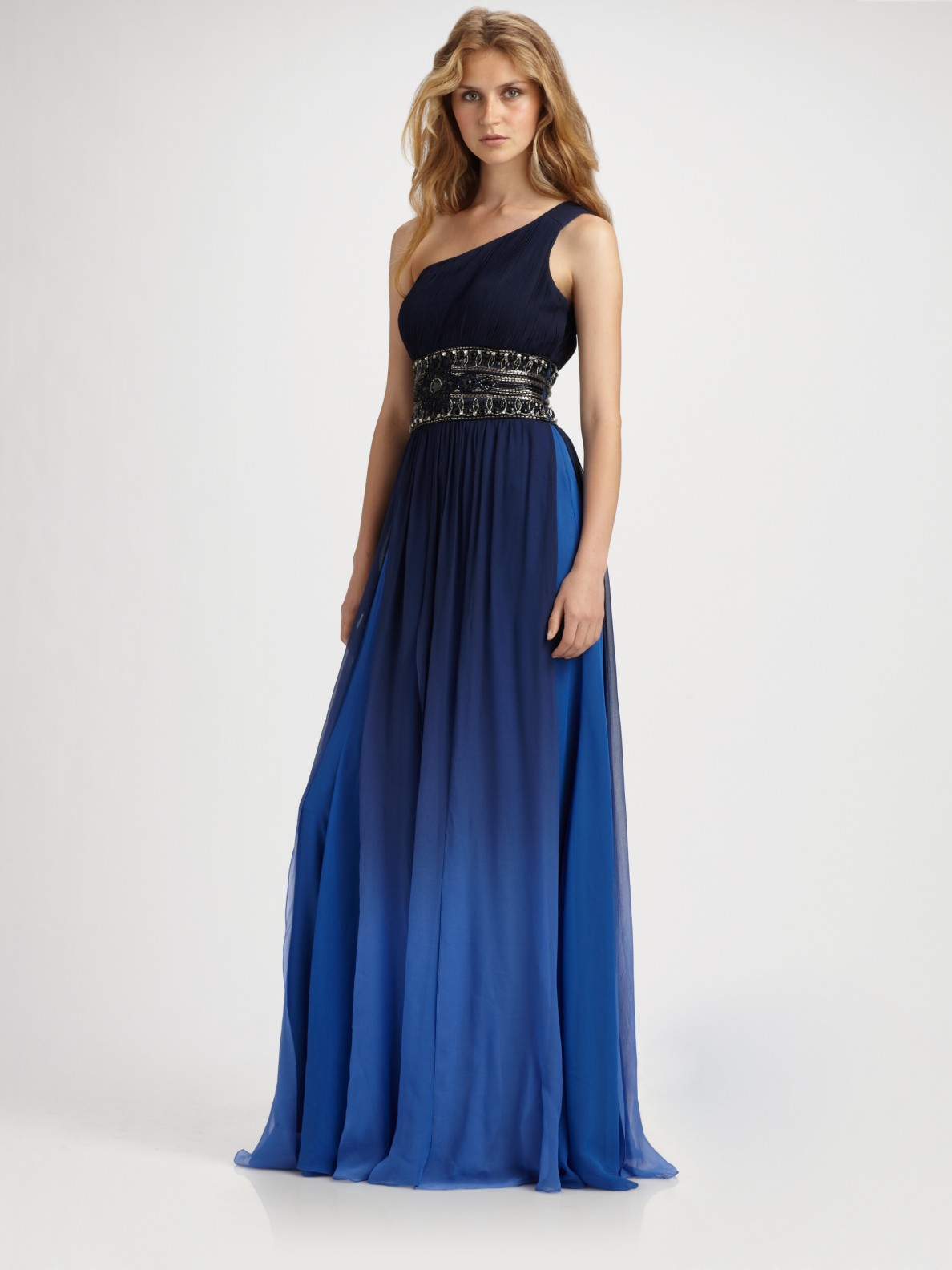 Sue Wong Beaded Ombr 233 One Shoulder Gown In Blue Navy Lyst