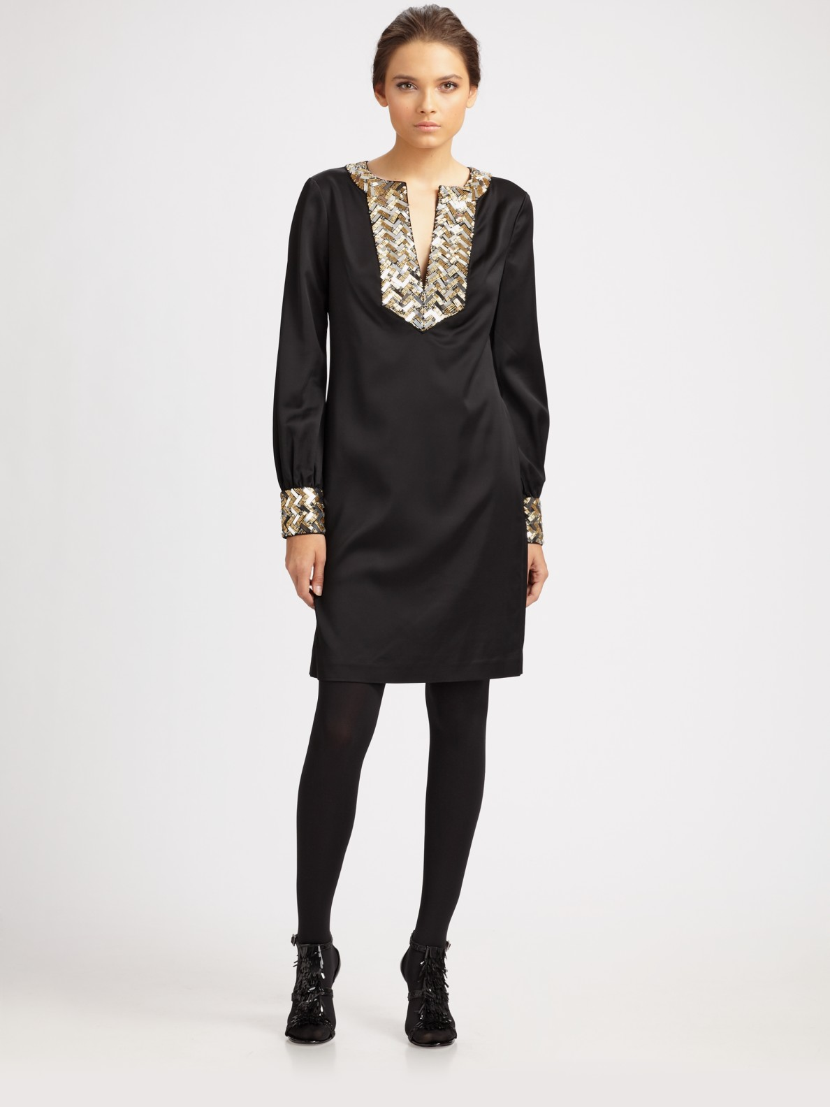 Tory Burch Sequined Tunic Dress In Black Lyst