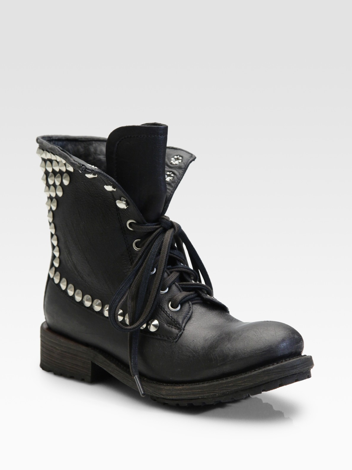 Ash Studded Lace-up Short Boots in Black | Lyst