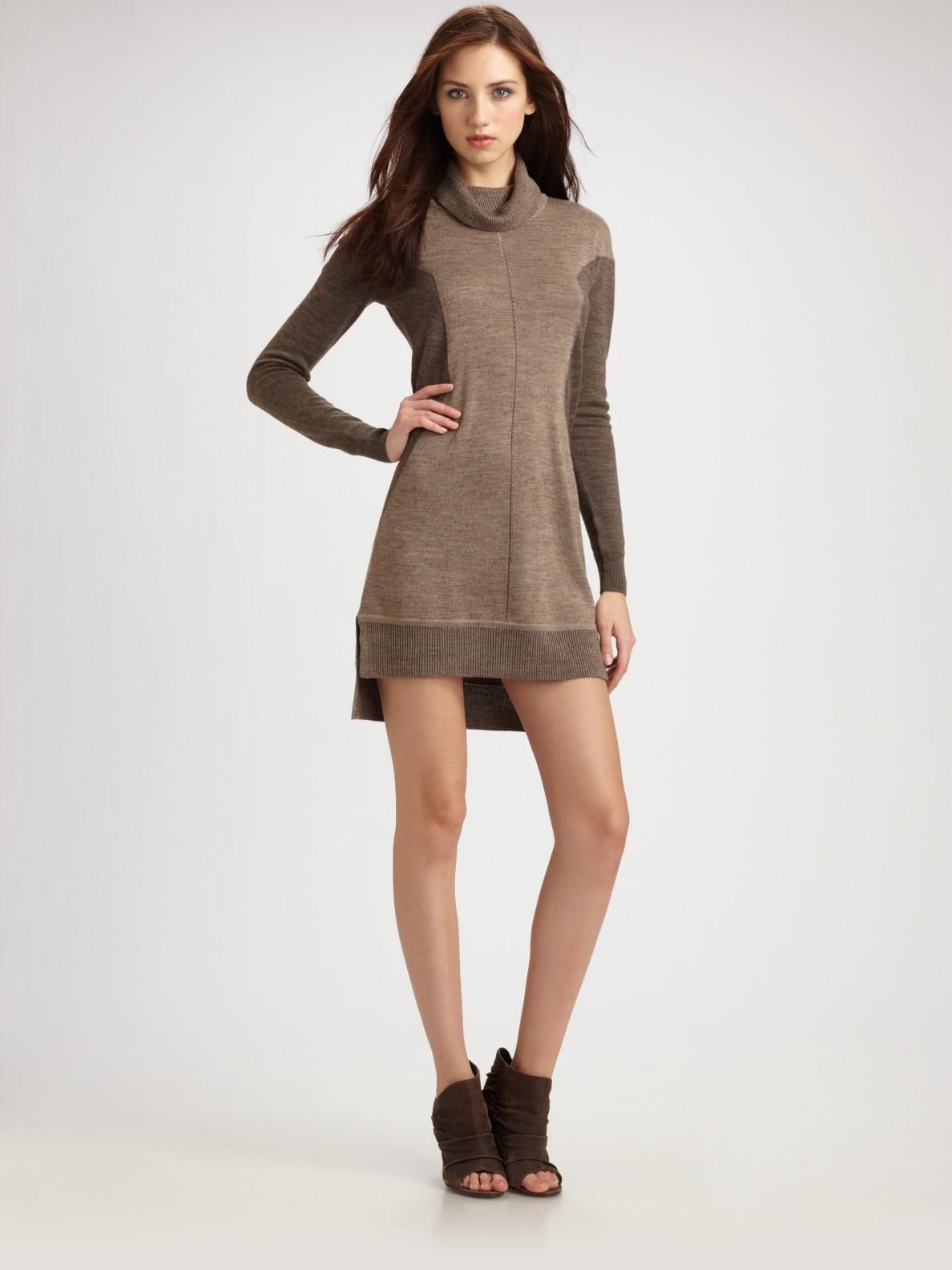 Bcbgmaxazria Turtleneck Wool Sweater Dress in Brown | Lyst