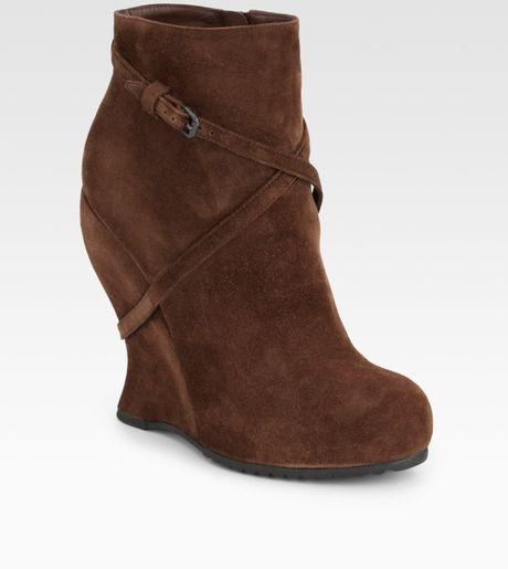 bottega veneta suede wedge ankle boots in brown bark lyst