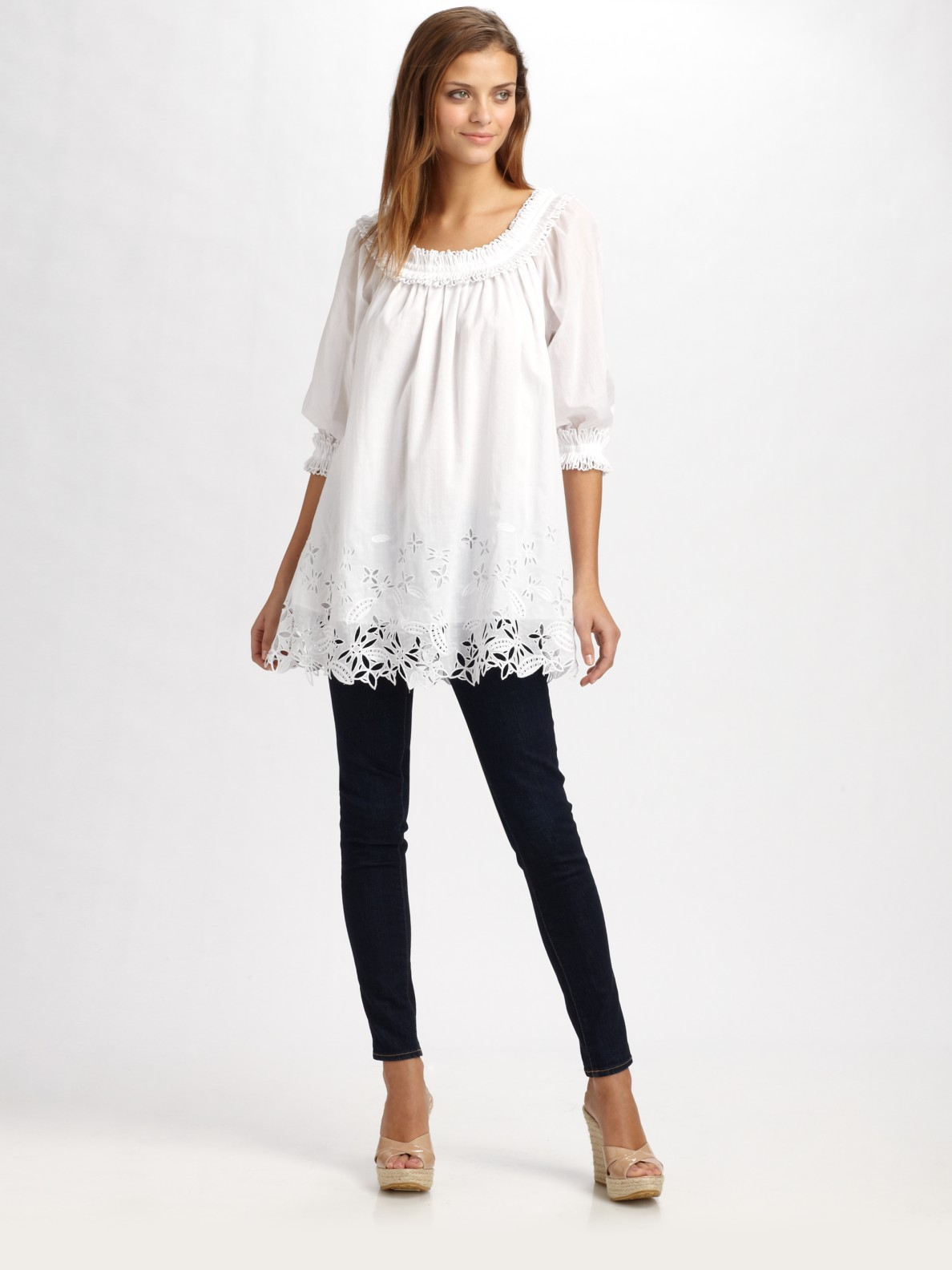 Catherine malandrino embroidered tunic top in white lyst
