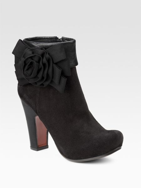 chie mihara flower bow suede ankle boots in black lyst