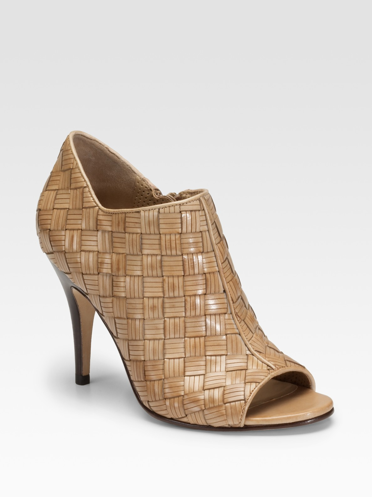 cole haan air woven leather ankle boots in beige