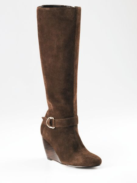 cole haan air lainey suede wedge boots in brown chocolate