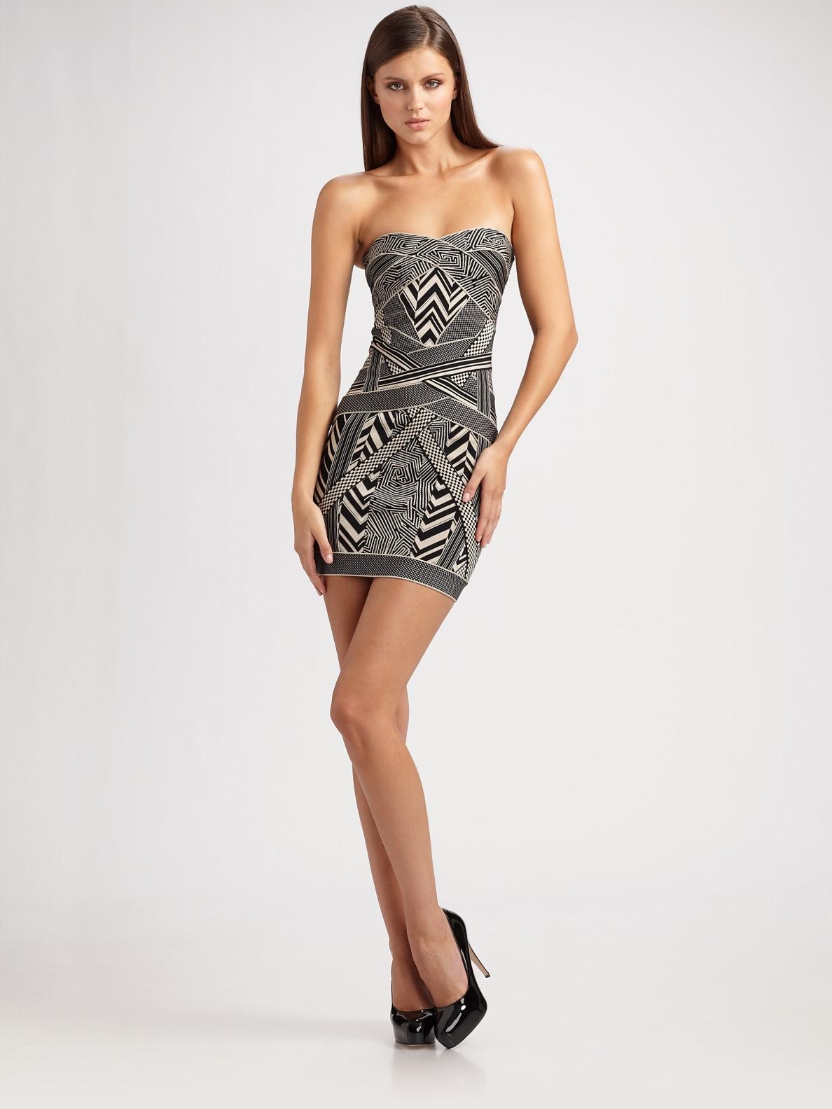 herv l ger strapless jacquard mini dress in black lyst. Black Bedroom Furniture Sets. Home Design Ideas