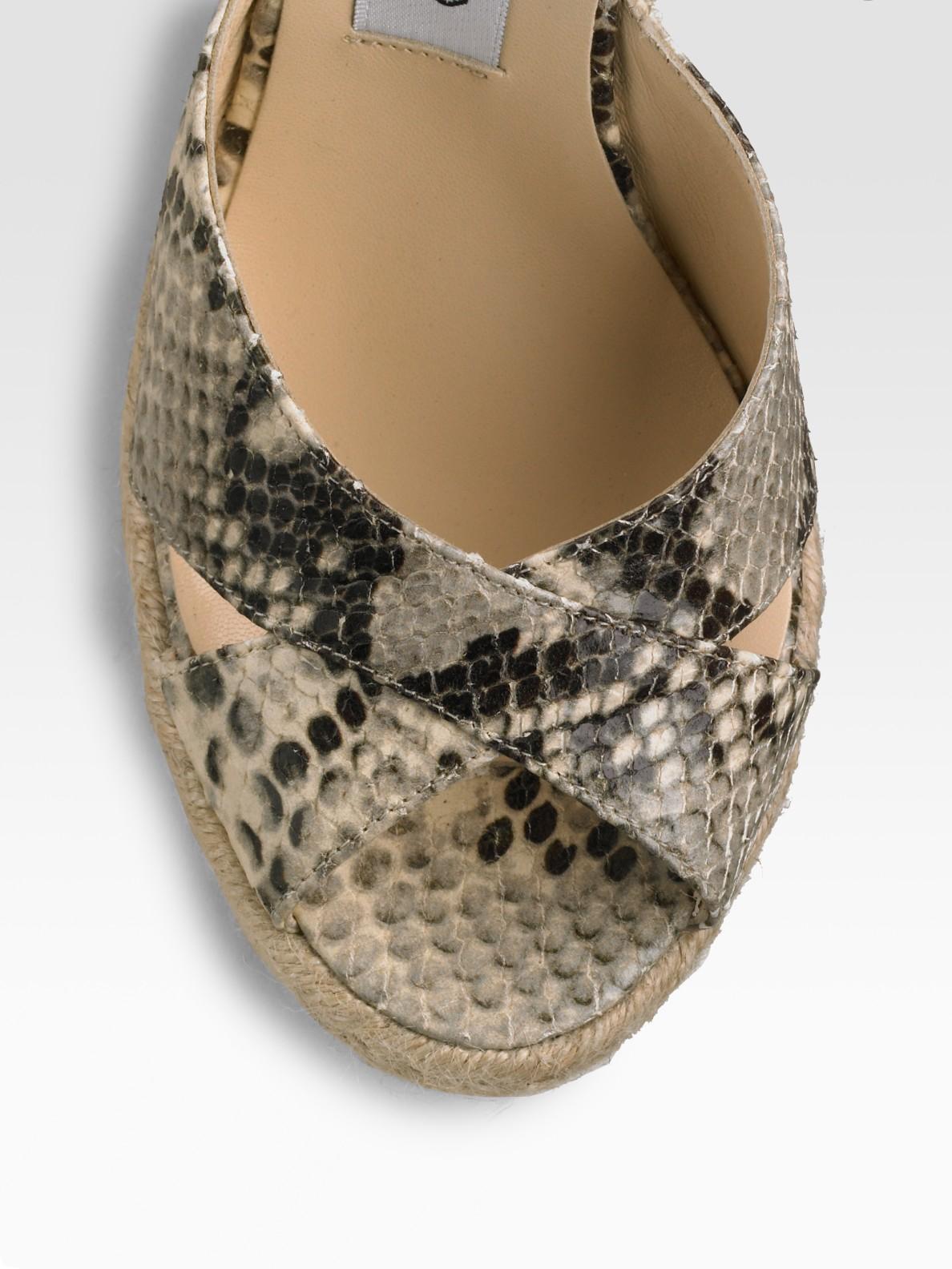 895826ad1ea Lyst - Jimmy Choo Snake-print Phyllis Wedge Espadrilles in Natural