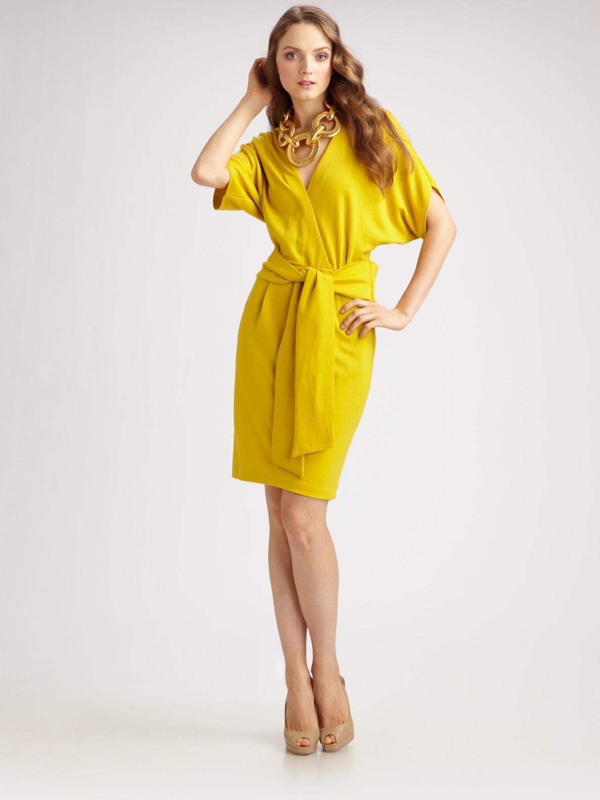 Josie Natori Jasmine Wool Jersey Belted Dress In Yellow