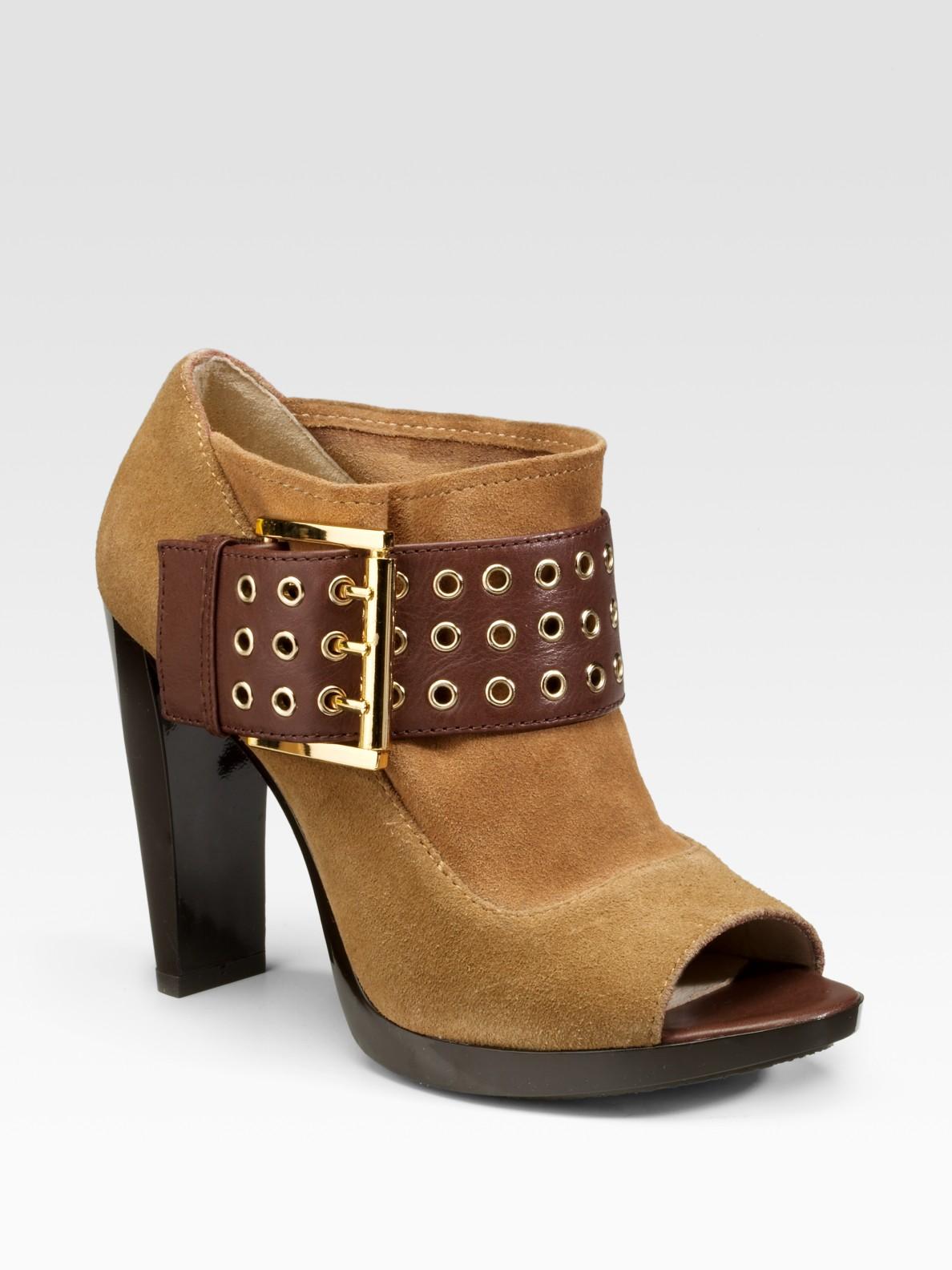 Michael Michael Kors Peep Toe Ankle Boots In Brown Tan