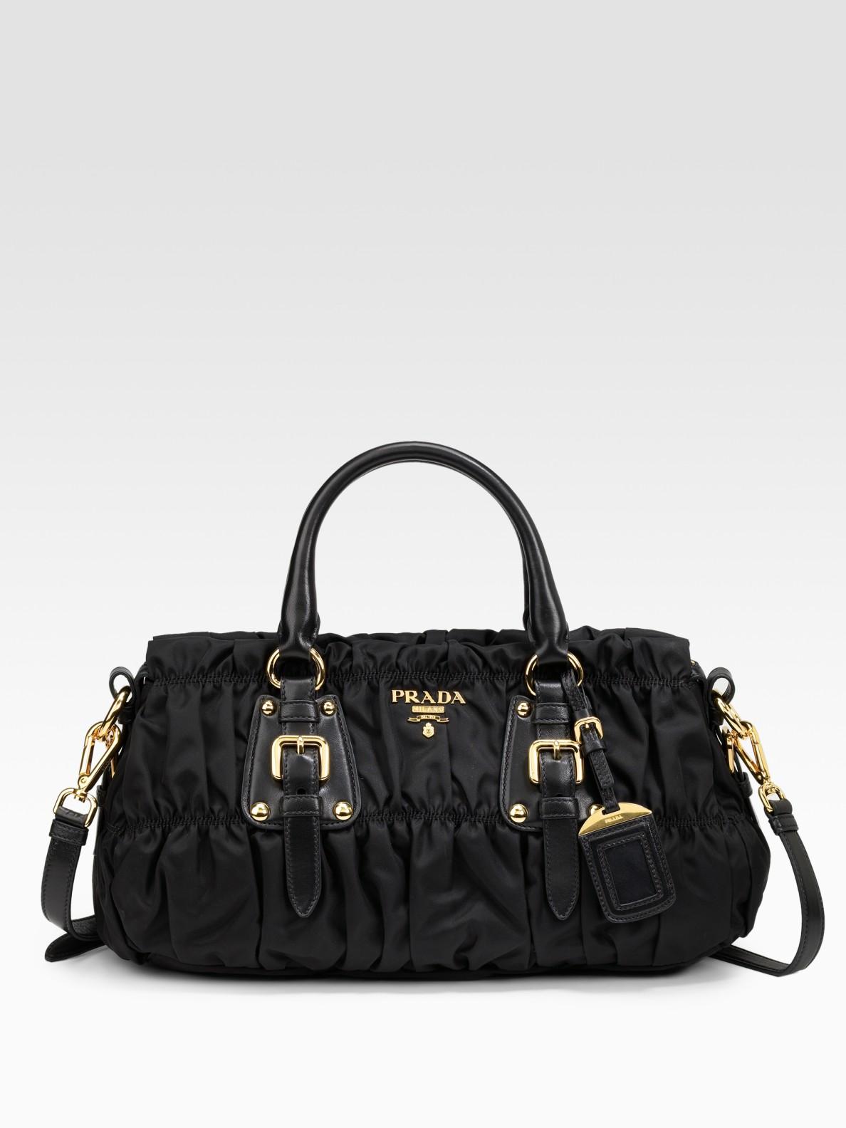 7ff1f89aa12a ... sale lyst prada tessuto gaufre top handle bag in black 4c7ad a7232