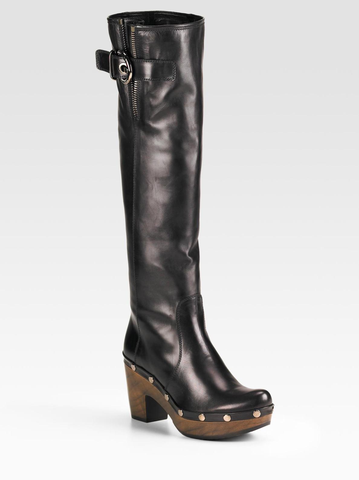 Stuart weitzman Tall Clog Boots in Black   Lyst
