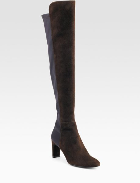stuart weitzman the knee suede stretch boots in brown