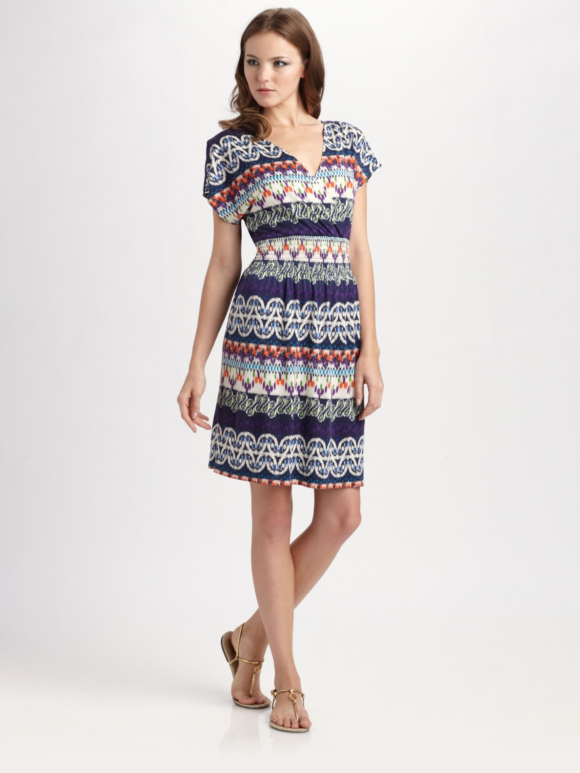 Lyst tory burch printed silk surplice dress in blue for Tory burch fashion island