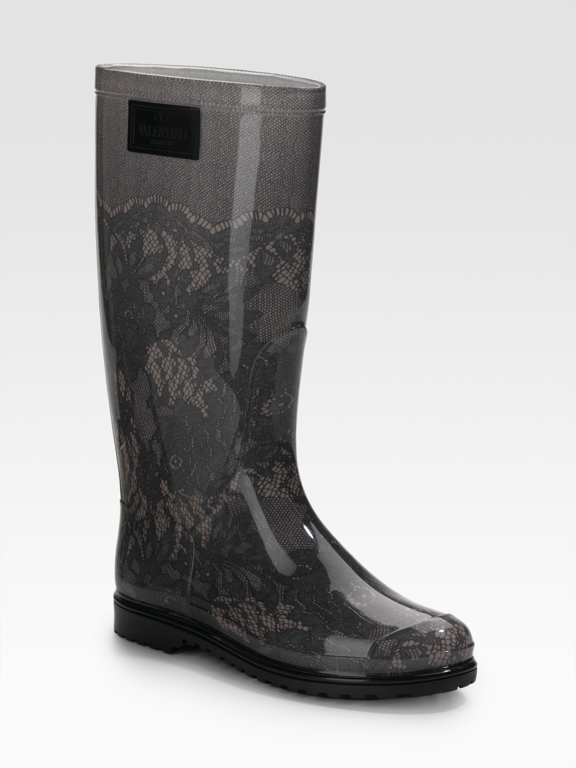Lyst Valentino Lace Printed Rubber Rain Boots In Gray
