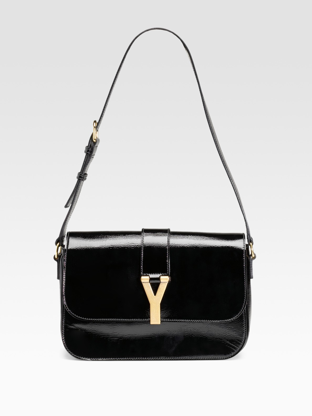 ysl sling bag - Yves Saint Laurent Chyc Large Patent Flap Shoulder Bag �C Shoulder ...