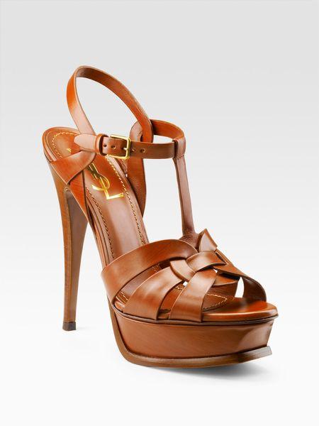 Saint Laurent Tribute Platform Sandals in Orange (CUOIO)