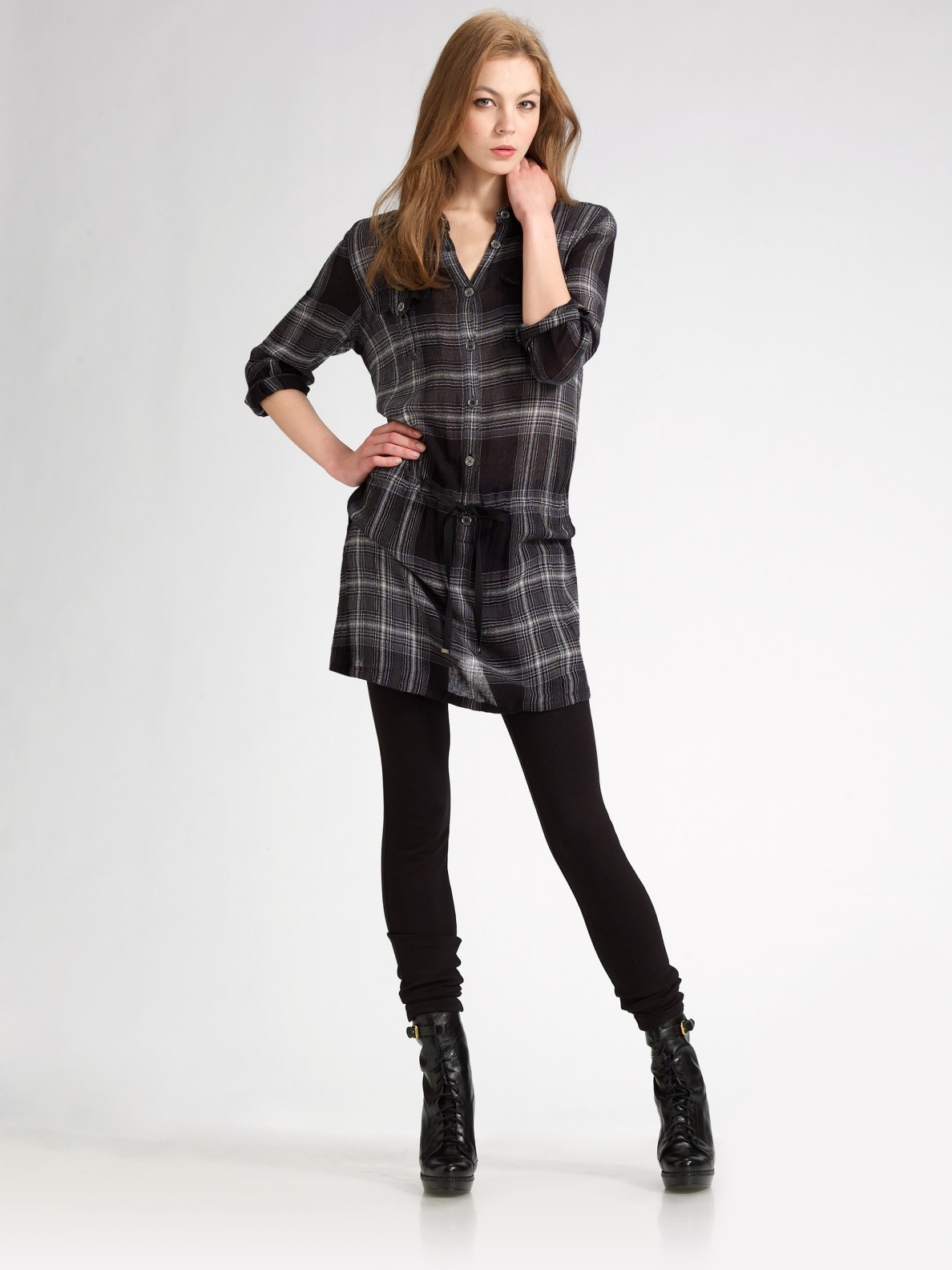 Lyst Burberry Brit Check Shirt Dress In Gray