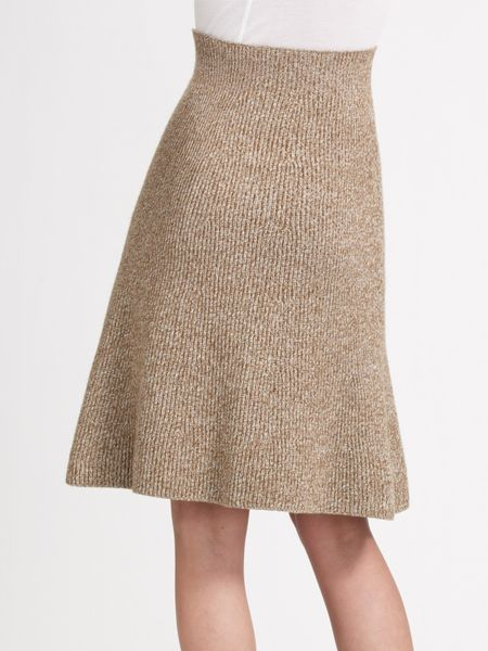 chlo 233 a line knit skirt in beige camel lyst