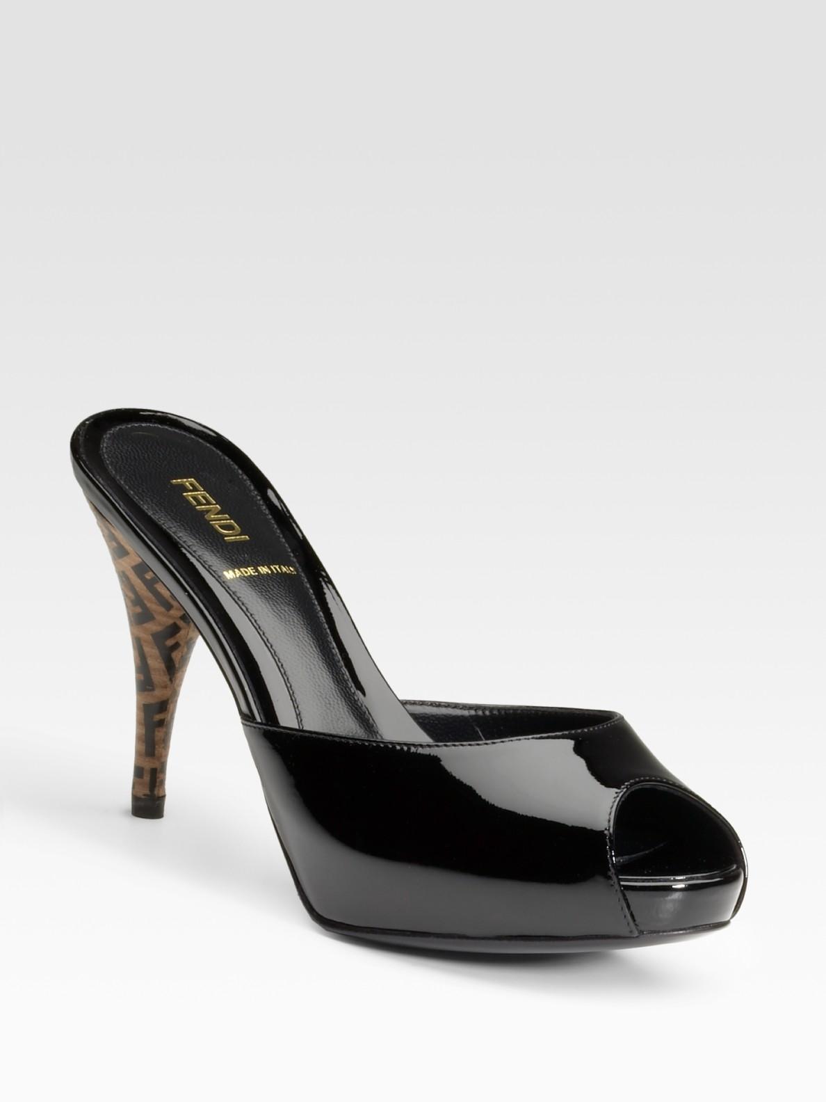 Fendi Ff Superstar Patent Leather Slides In Black Lyst