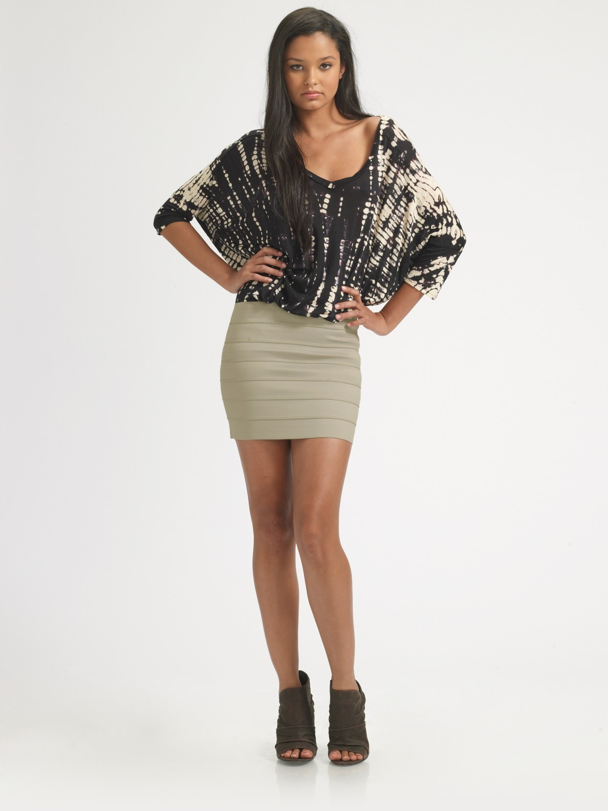 Pleasure doing business Banded Mini Skirt in Gray | Lyst