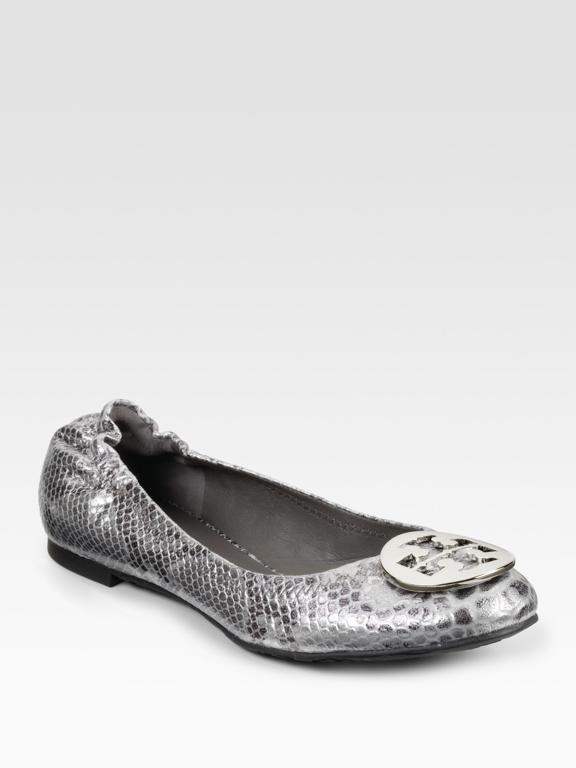4146513b3 Lyst - Tory Burch Reva Snake-embossed Leather Ballet Flats in Metallic