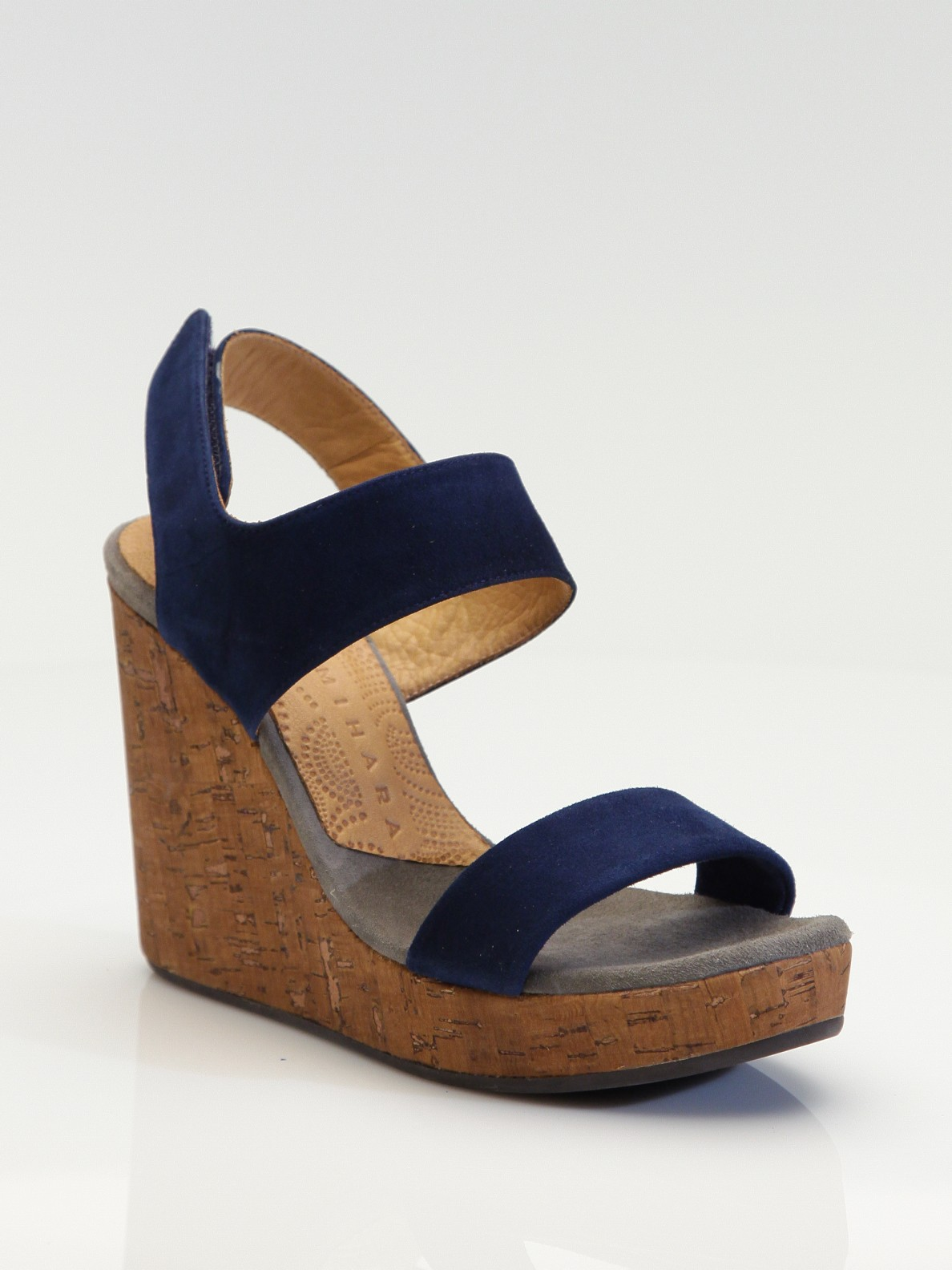 Chie Mihara Suede Cork Wedge Sandals In Blue Lyst