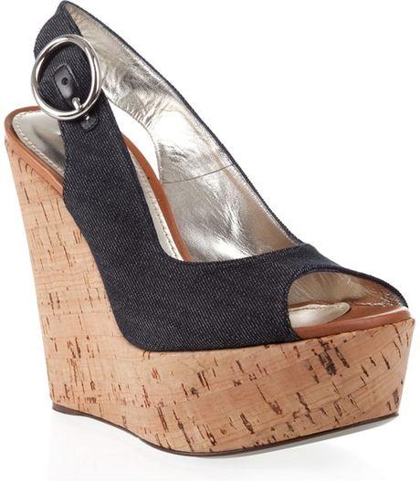 dolce gabbana denim cork wedge shoes in blue lyst