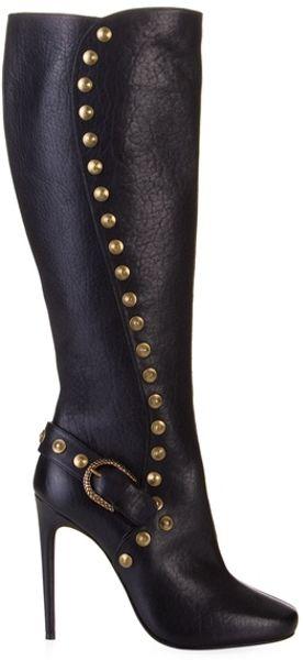 Roberto Cavalli Black Leather Stud Knee High Boots in