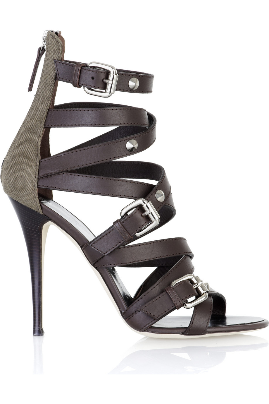 Giuseppe Zanotti Strappy Leather Sandals In Brown Dark
