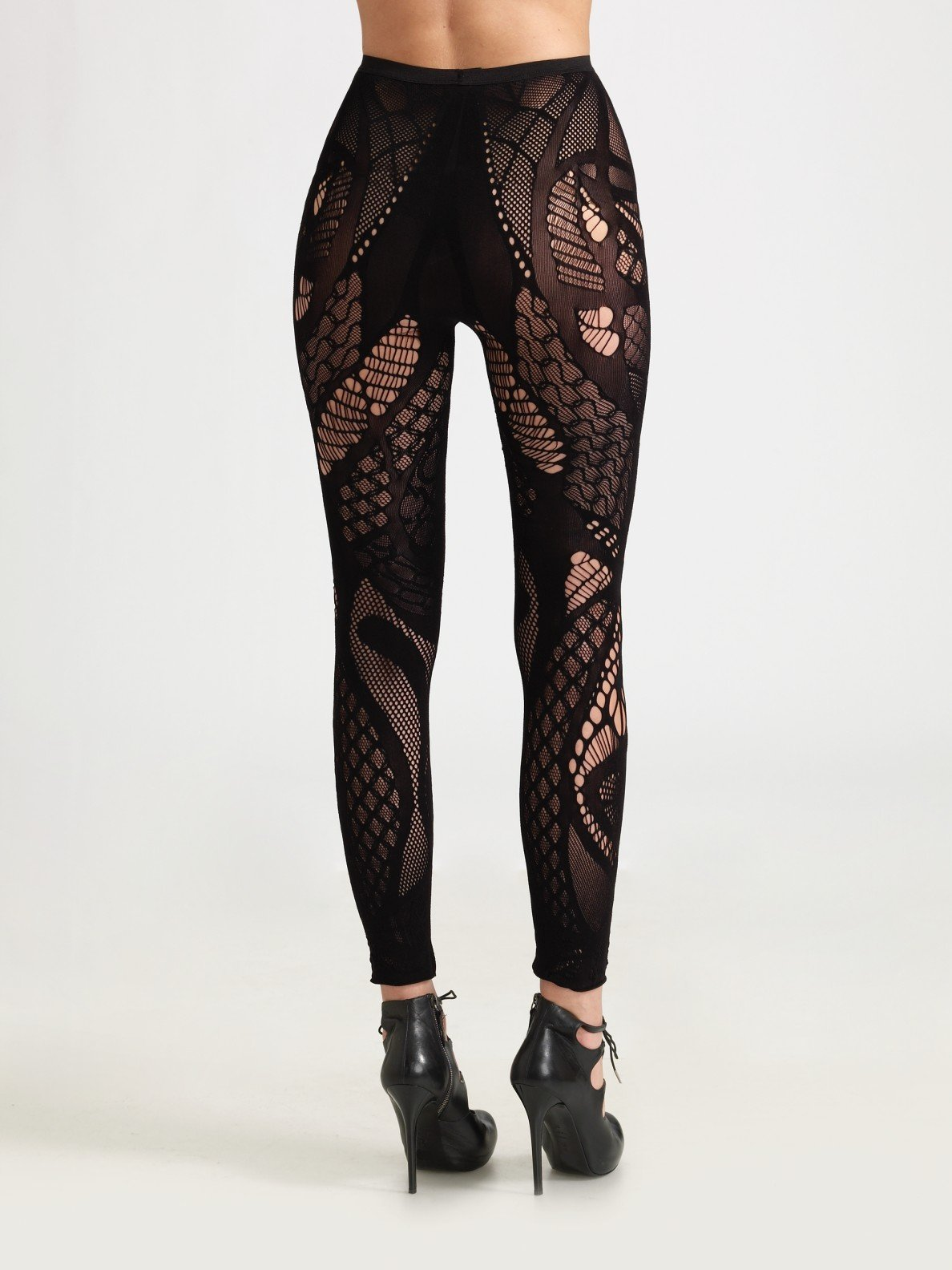 Lyst Alexander Mcqueen Footless Lace Tights In Purple