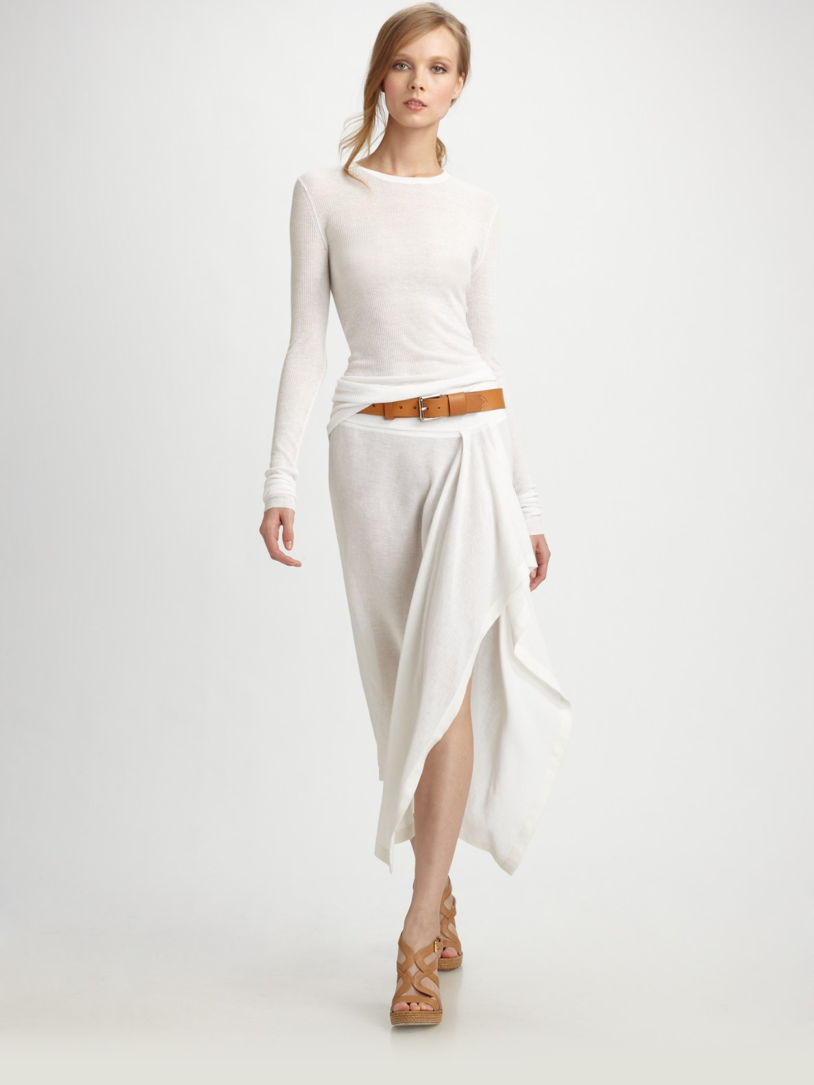 Michael Kors Linen Crepe Sarong Skirt In White Lyst