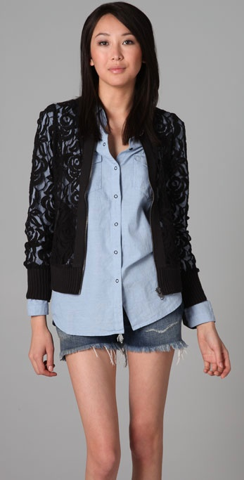 Lyst Free People Bomber Lace Jacket In Black